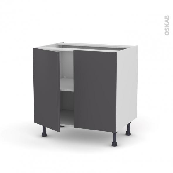 Meuble de cuisine bas ginko gris 2 portes l80 x h70 x p58 for Meuble bas cuisine gris