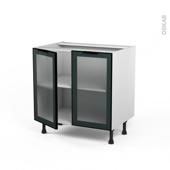 meuble de cuisine bas vitr fa ade noire alu 2 portes l80 x h70 x p58 cm sokleo oskab. Black Bedroom Furniture Sets. Home Design Ideas