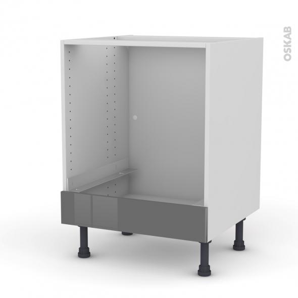 Meuble de cuisine bas four stecia gris bandeau bas l60 x for Modele meuble de cuisine