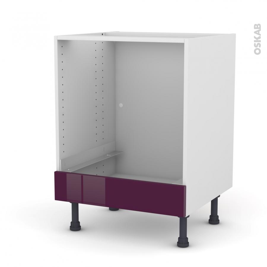 meuble de cuisine bas four keria aubergine bandeau bas l60. Black Bedroom Furniture Sets. Home Design Ideas
