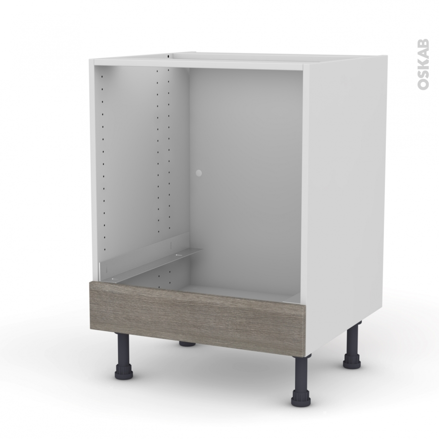 meuble de cuisine bas four stilo noyer naturel bandeau bas l60 x h70 x p58 cm oskab. Black Bedroom Furniture Sets. Home Design Ideas