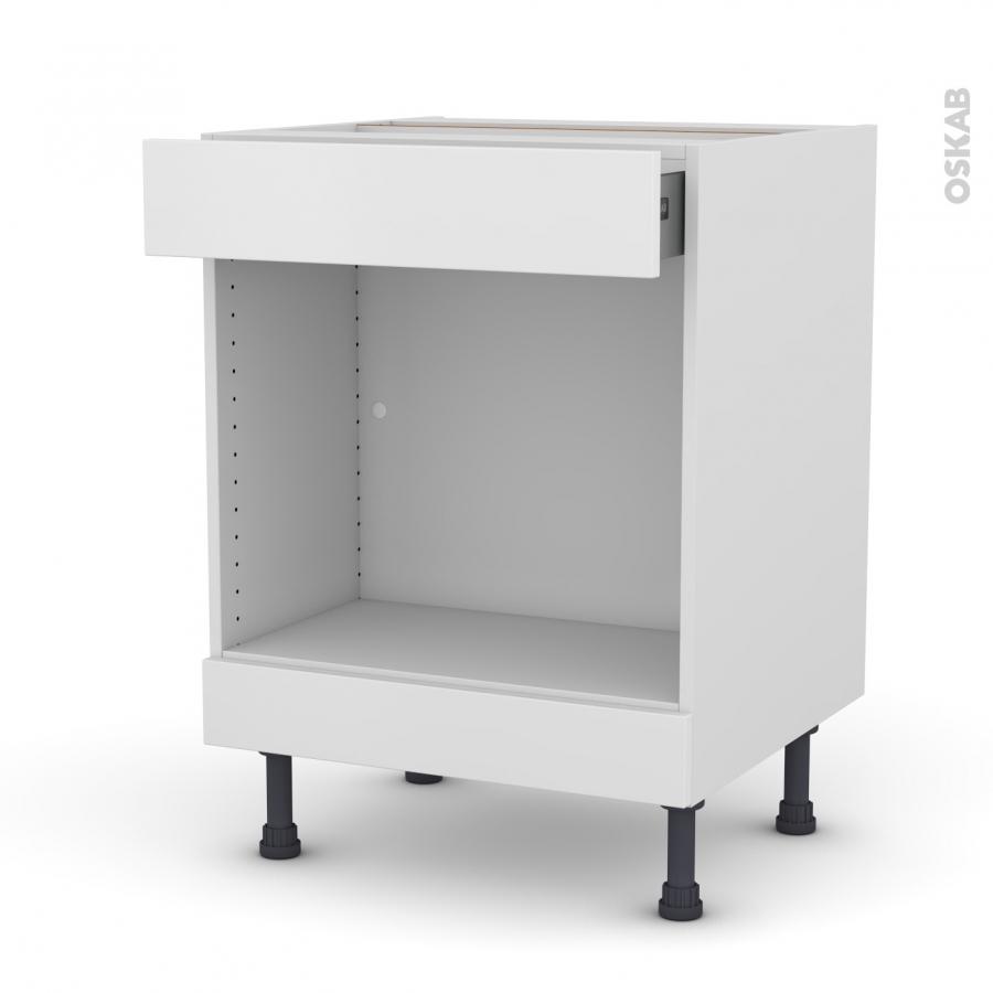 meuble de cuisine bas mo encastrable niche 45 ginko blanc 1 tiroir haut l60 x h70 x p58 cm oskab. Black Bedroom Furniture Sets. Home Design Ideas
