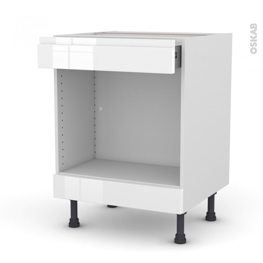 Meuble de cuisine bas mo encastrable niche 45 ipoma blanc brillant 1 tiroir haut l60 x h70 x p58 for Modele cuisine encastrable