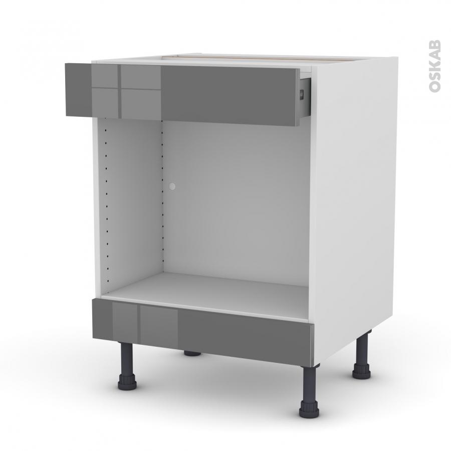 Meuble de cuisine bas mo encastrable niche 45 stecia gris Hauteur meuble bas et haut cuisine