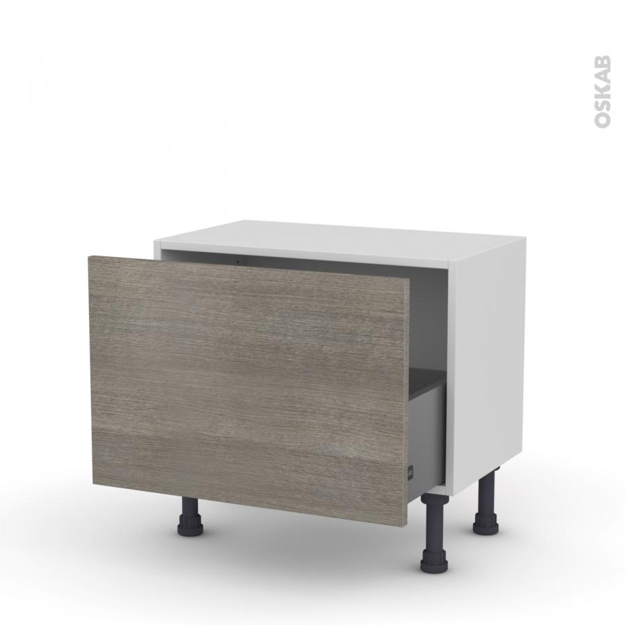 meuble de cuisine bas stilo noyer naturel 1 casserolier l60 x h41 x p37 cm oskab. Black Bedroom Furniture Sets. Home Design Ideas