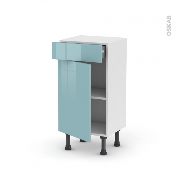 Meuble de cuisine bas keria bleu 1 porte 1 tiroir l40 x h70 x p37 cm oskab - Meuble cuisine bleu ...