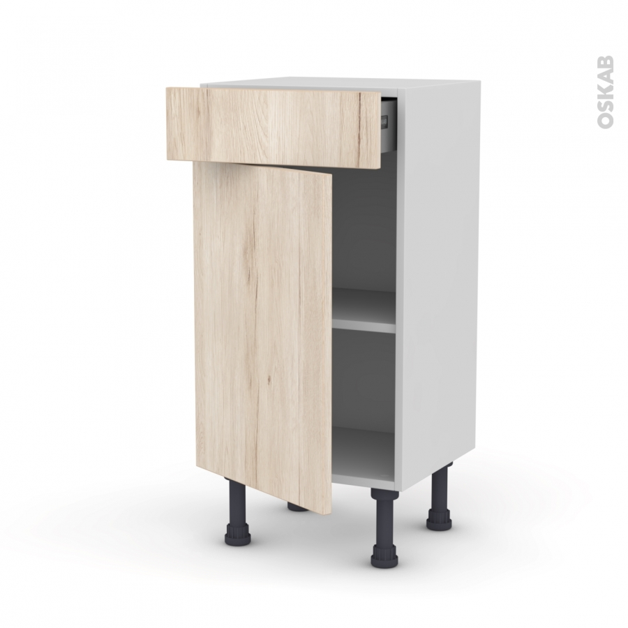 Meuble de cuisine bas ikoro ch ne clair 1 porte 1 tiroir for Placage porte meuble cuisine