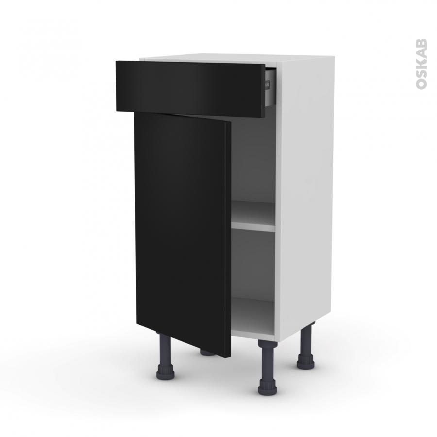 Meuble de cuisine bas ginko noir 1 porte 1 tiroir l40 x for Meuble de cuisine noir
