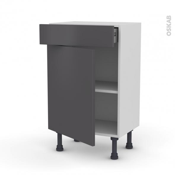 Meuble de cuisine bas ginko gris 1 porte 1 tiroir l50 x - Meuble bas cuisine gris ...