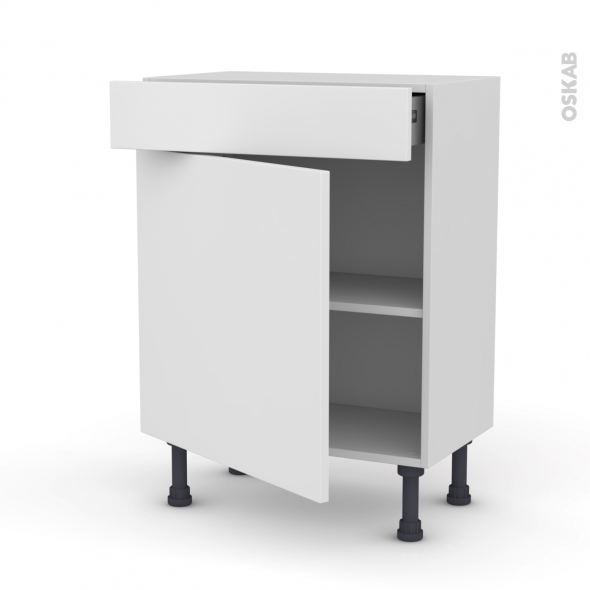 meuble de cuisine bas ginko blanc 1 porte 1 tiroir l60 x h70 x p37 cm oskab. Black Bedroom Furniture Sets. Home Design Ideas