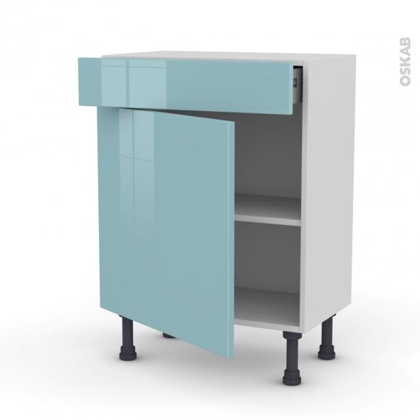 meuble bas 1 porte 1 tiroir l60xh70xp37 keria bleu oskab. Black Bedroom Furniture Sets. Home Design Ideas