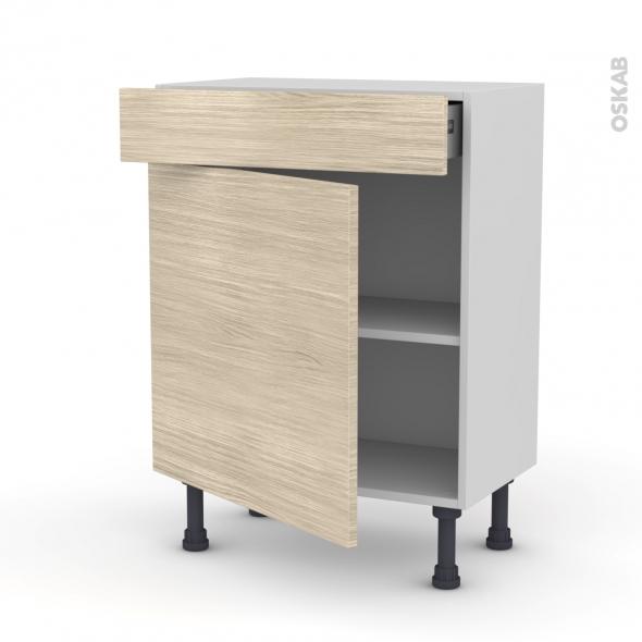 Meuble de cuisine bas stilo noyer blanchi 1 porte 1 tiroir for Modele meuble cuisine