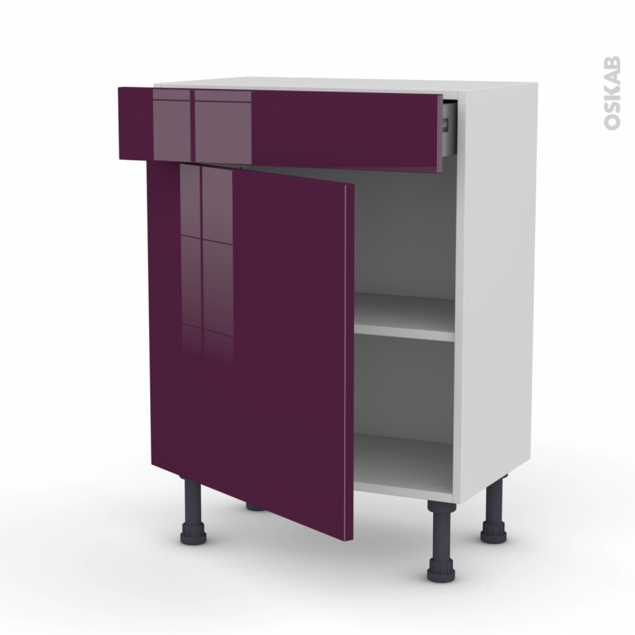 meuble de cuisine bas keria aubergine 1 porte 1 tiroir l60 x h70 x p37 cm oskab. Black Bedroom Furniture Sets. Home Design Ideas