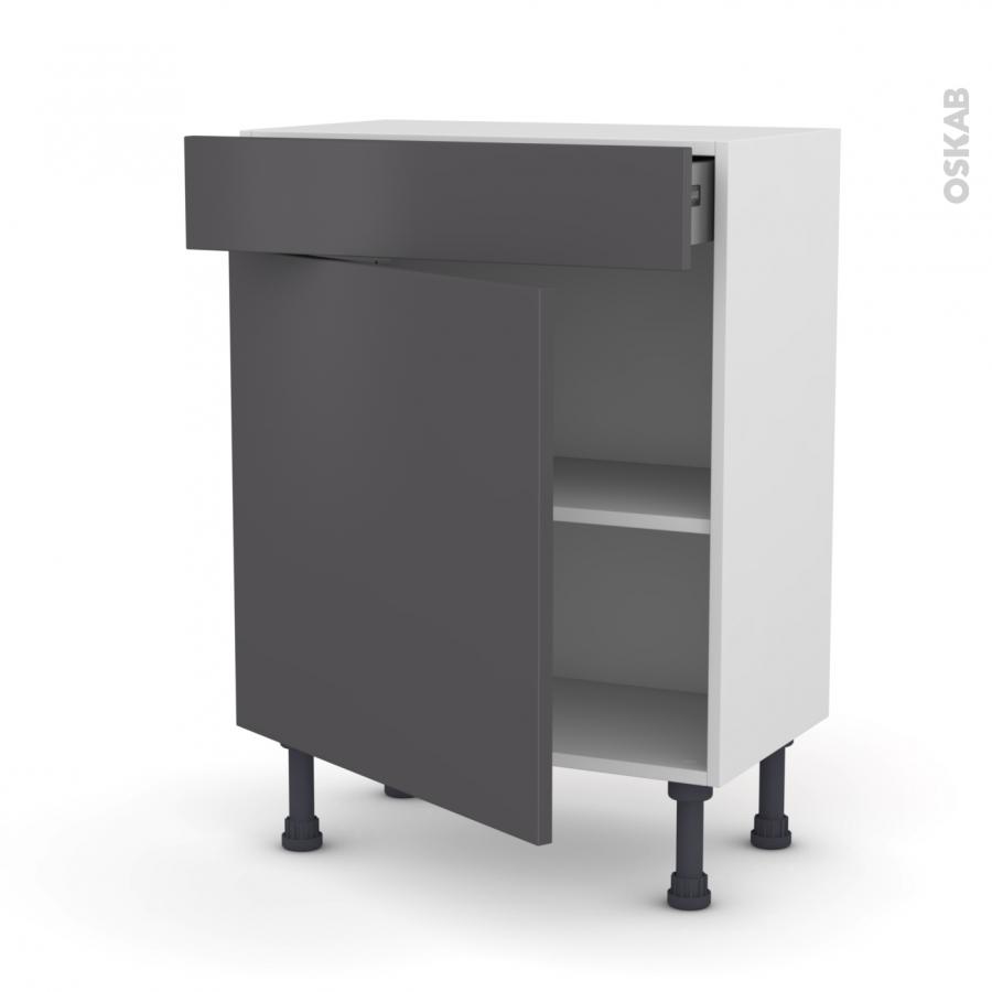 Meuble de cuisine bas ginko gris 1 porte 1 tiroir l60 x h70 x p37 cm oskab - Meuble de cuisine gris ...