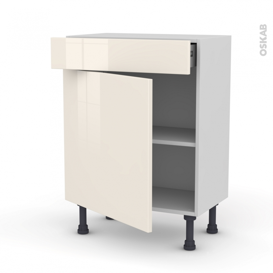 Meuble de cuisine bas keria ivoire 1 porte 1 tiroir l60 x for Tiroir meuble cuisine