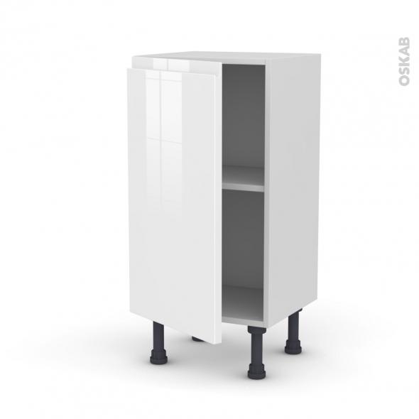 Meuble de cuisine bas ipoma blanc brillant 1 porte l40 x for Cuisine 3d oskab