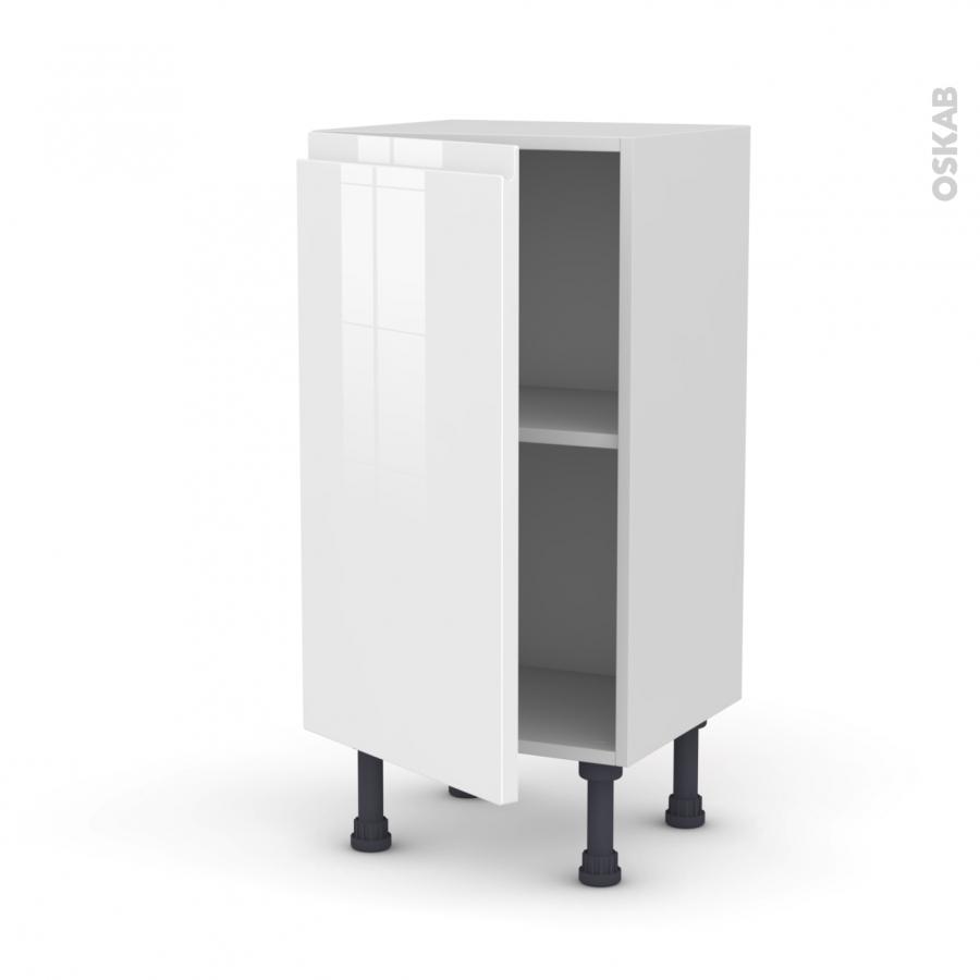 Meuble de cuisine bas ipoma blanc brillant 1 porte l40 x Meuble de cuisine blanc brillant