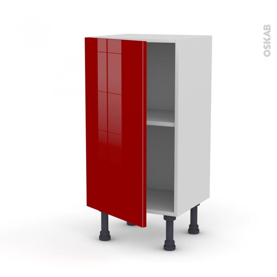 Meuble de cuisine bas stecia rouge 1 porte l40 x h70 x p37 for Meuble bas cuisine 20 cm