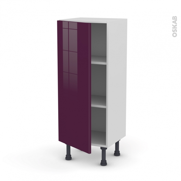 Keria aubergine meuble bas 1 porte l40xh92xp37 oskab for Meuble bas cuisine aubergine