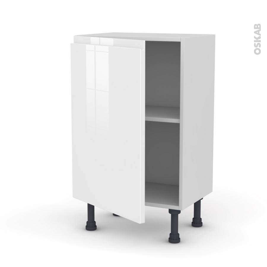 meuble de cuisine bas ipoma blanc brillant 1 porte l50 x. Black Bedroom Furniture Sets. Home Design Ideas