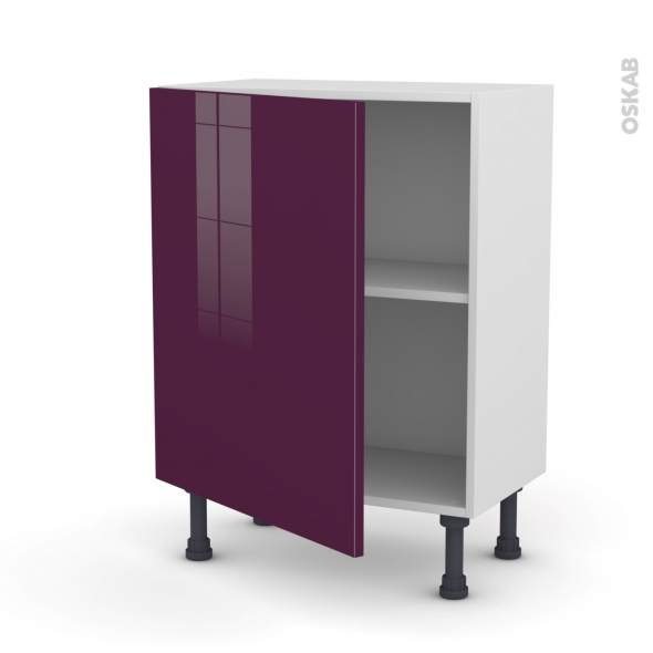 meuble de cuisine bas keria aubergine 1 porte l60 x h70 x p37 cm oskab. Black Bedroom Furniture Sets. Home Design Ideas