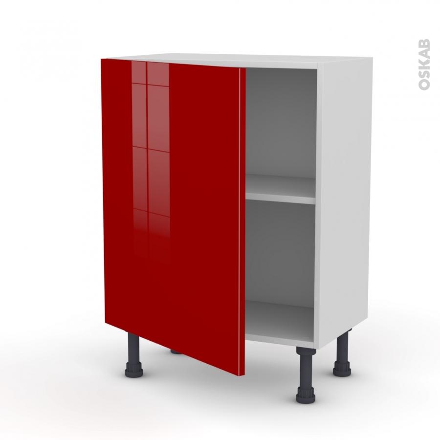 Meuble de cuisine bas stecia rouge 1 porte l60 x h70 x p37 for Meuble de cuisine rouge