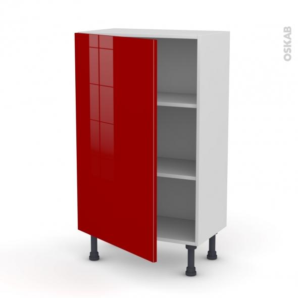 Meuble de cuisine bas stecia rouge 1 porte l60 x h92 x p37 for Meuble cuisine rouge