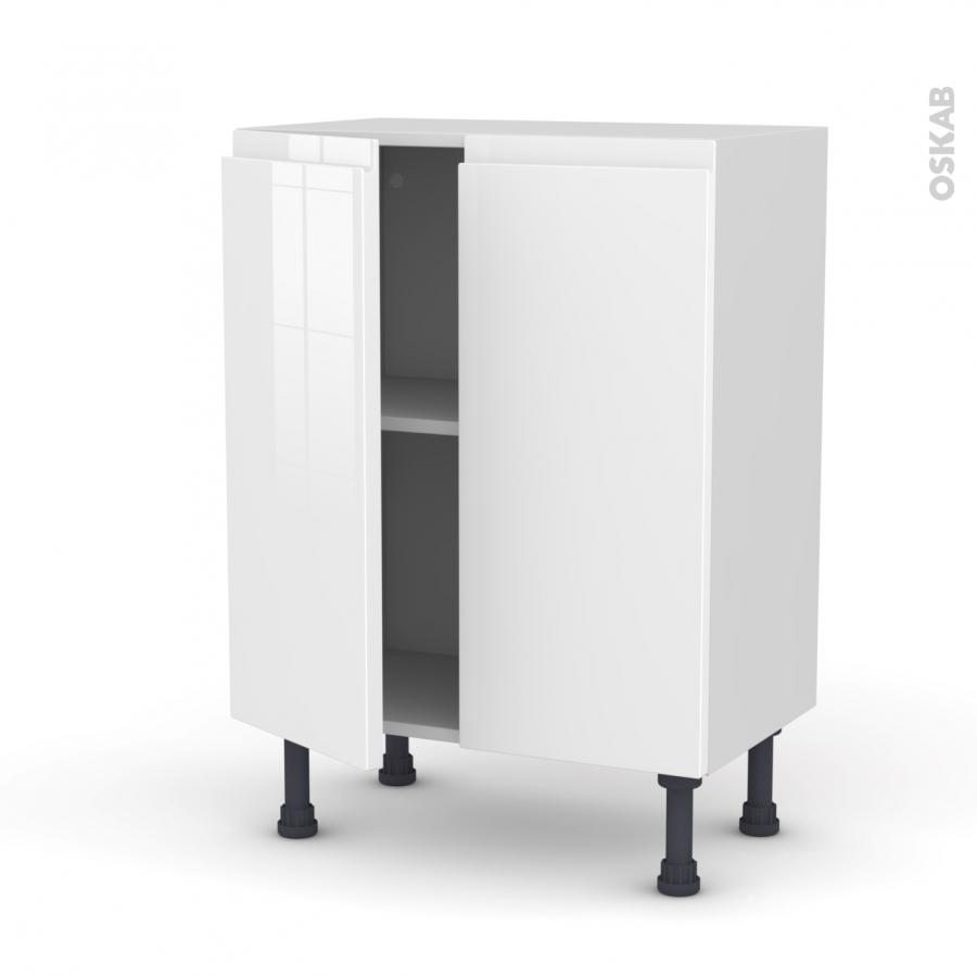Meuble de cuisine bas ipoma blanc brillant 2 portes l60 x Meuble de cuisine blanc brillant