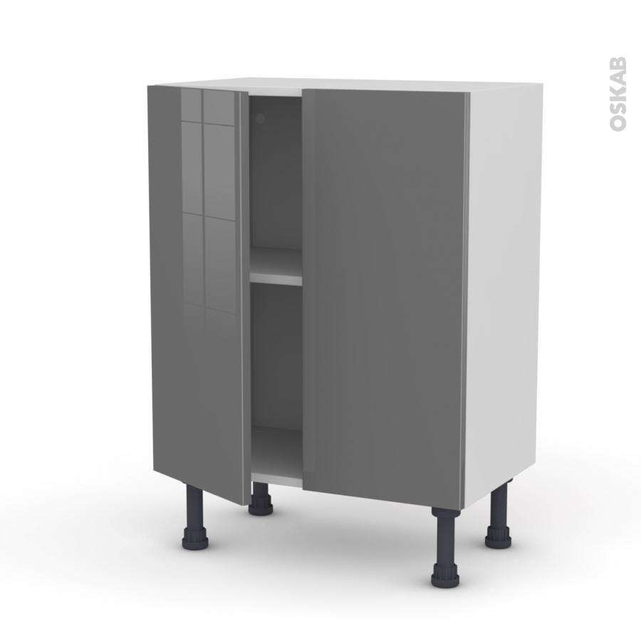 Meuble de cuisine bas stecia gris 2 portes l60 x h70 x p37 for Meuble de cuisine gris