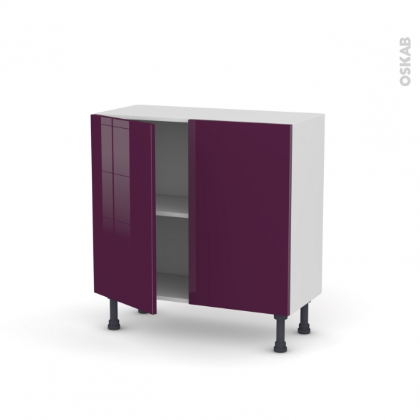 meuble de cuisine bas keria aubergine 2 portes l80 x h70 x p37 cm oskab. Black Bedroom Furniture Sets. Home Design Ideas
