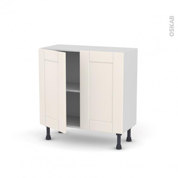 Meuble de cuisine bas filipen ivoire 2 portes l80 x h70 x for Modele meuble de cuisine