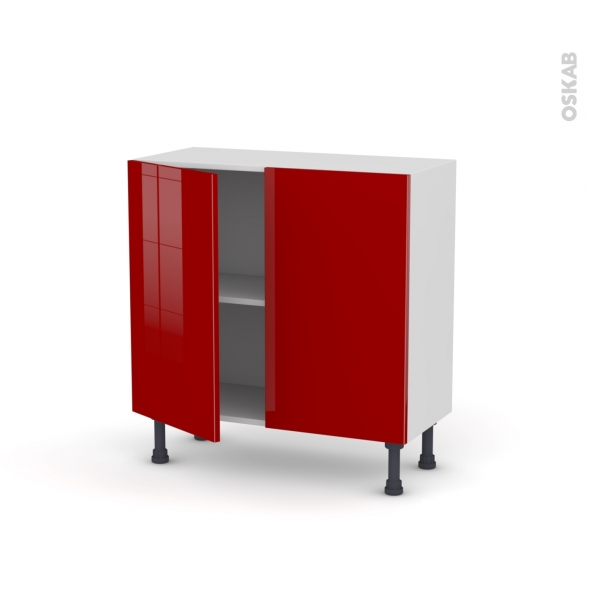 meuble de cuisine bas stecia rouge 2 portes l80 x h70 x p37 cm oskab. Black Bedroom Furniture Sets. Home Design Ideas