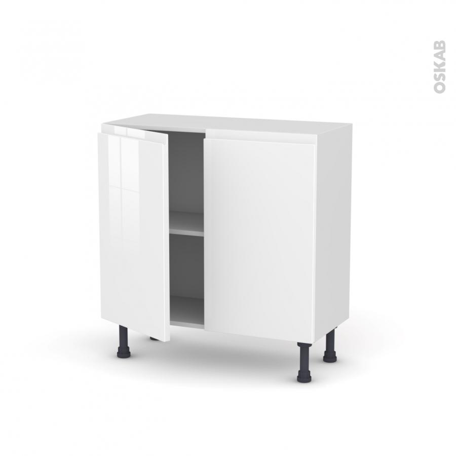 Meuble de cuisine bas ipoma blanc brillant 2 portes l80 x Meuble de cuisine blanc brillant