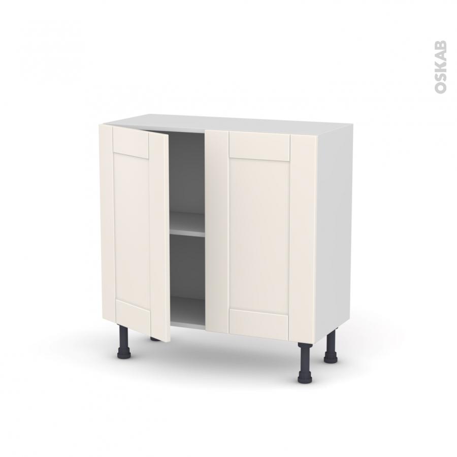 Meuble de cuisine bas filipen ivoire 2 portes l80 x h70 x for Meuble cuisine sans porte