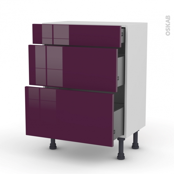 meuble de cuisine bas keria aubergine 3 tiroirs l60 x h70 x p37 cm oskab. Black Bedroom Furniture Sets. Home Design Ideas