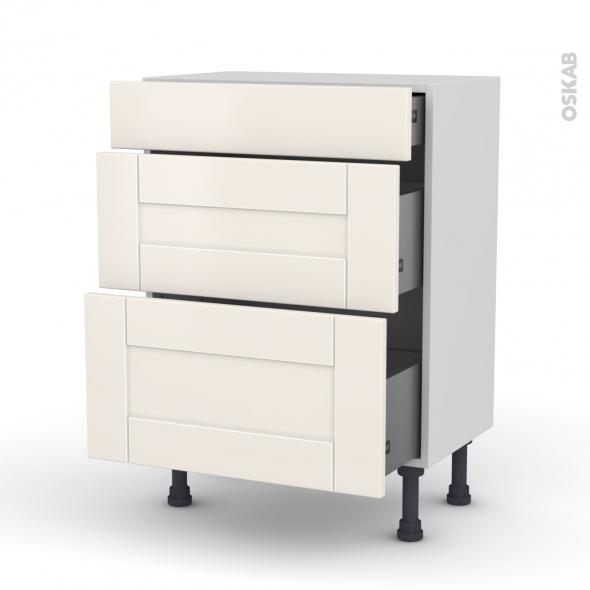 meuble de cuisine bas filipen ivoire 3 tiroirs l60 x h70 x p37 cm oskab. Black Bedroom Furniture Sets. Home Design Ideas