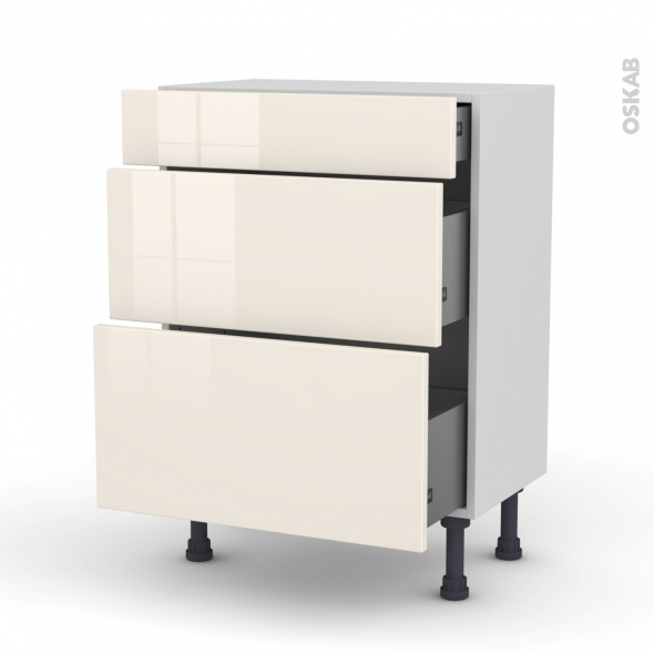 meuble de cuisine bas keria ivoire 3 tiroirs l60 x h70 x. Black Bedroom Furniture Sets. Home Design Ideas