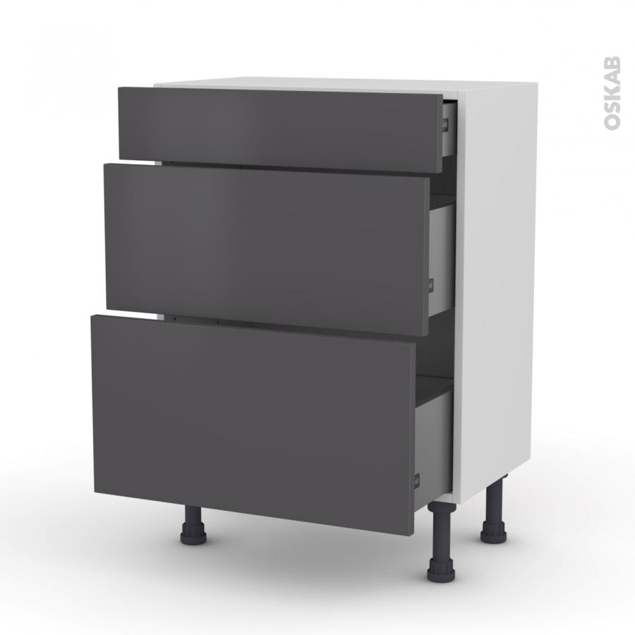 meuble de cuisine bas ginko gris 3 tiroirs l60 x h70 x p37. Black Bedroom Furniture Sets. Home Design Ideas
