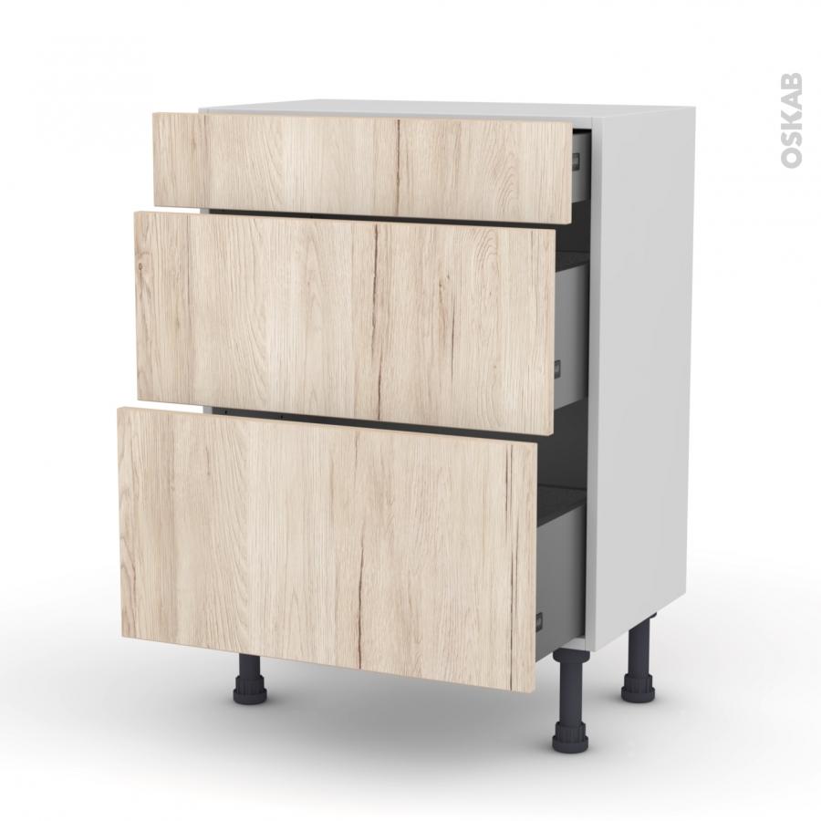 meuble de cuisine bas ikoro ch ne clair 3 tiroirs l60 x. Black Bedroom Furniture Sets. Home Design Ideas