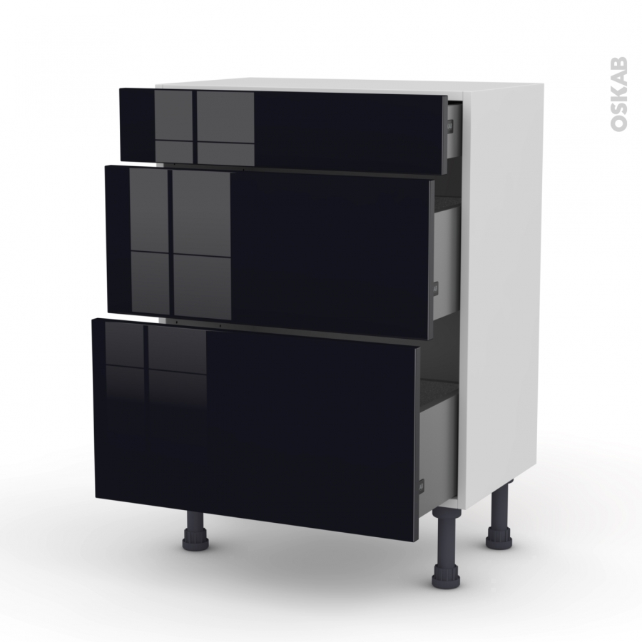meuble de cuisine bas keria noir 3 tiroirs l60 x h70 x p37 cm oskab. Black Bedroom Furniture Sets. Home Design Ideas