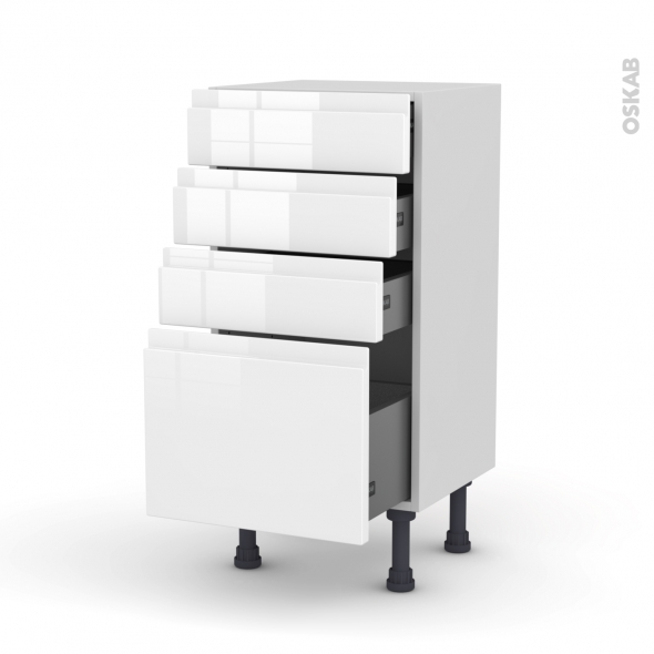 meuble de cuisine bas ipoma blanc brillant 4 tiroirs l40 x