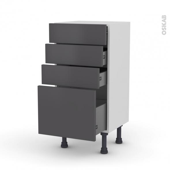 Meuble de cuisine bas ginko gris 4 tiroirs l40 x h70 x p37 for Monter meuble cuisine