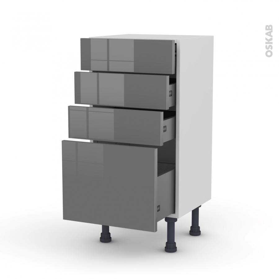 Meuble de cuisine bas stecia gris 4 tiroirs l40 x h70 x for Meuble cuisine gris