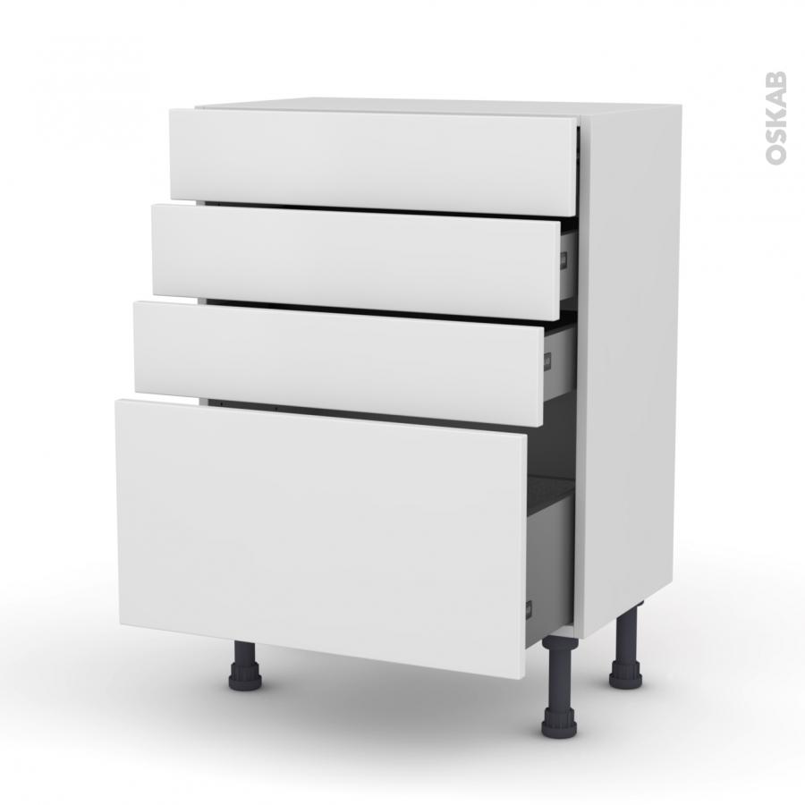 Meuble de cuisine bas ginko blanc 4 tiroirs l60 x h70 x for Meuble cuisine bas 20 cm