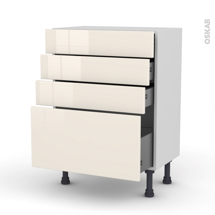 Meuble de cuisine bas keria ivoire 4 tiroirs l60 x h70 x for Tiroir meuble cuisine