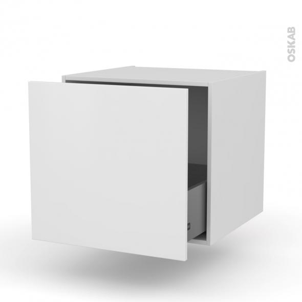 Meuble de cuisine bas suspendu ginko blanc 1 casserolier l60 x h57 x p58 cm oskab - Meuble cuisine suspendu ...