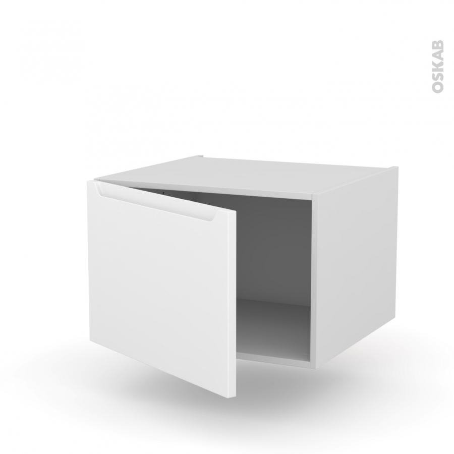 Meuble de cuisine bas suspendu pima blanc 1 porte l60 x for Meuble cuisine suspendu
