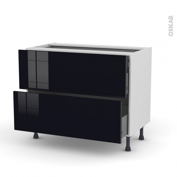 meuble de cuisine casserolier keria noir 2 tiroirs l100 x h70 x p58 cm oskab. Black Bedroom Furniture Sets. Home Design Ideas