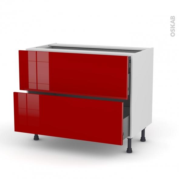 Meuble de cuisine casserolier stecia rouge 2 tiroirs 1 for Monter meuble cuisine