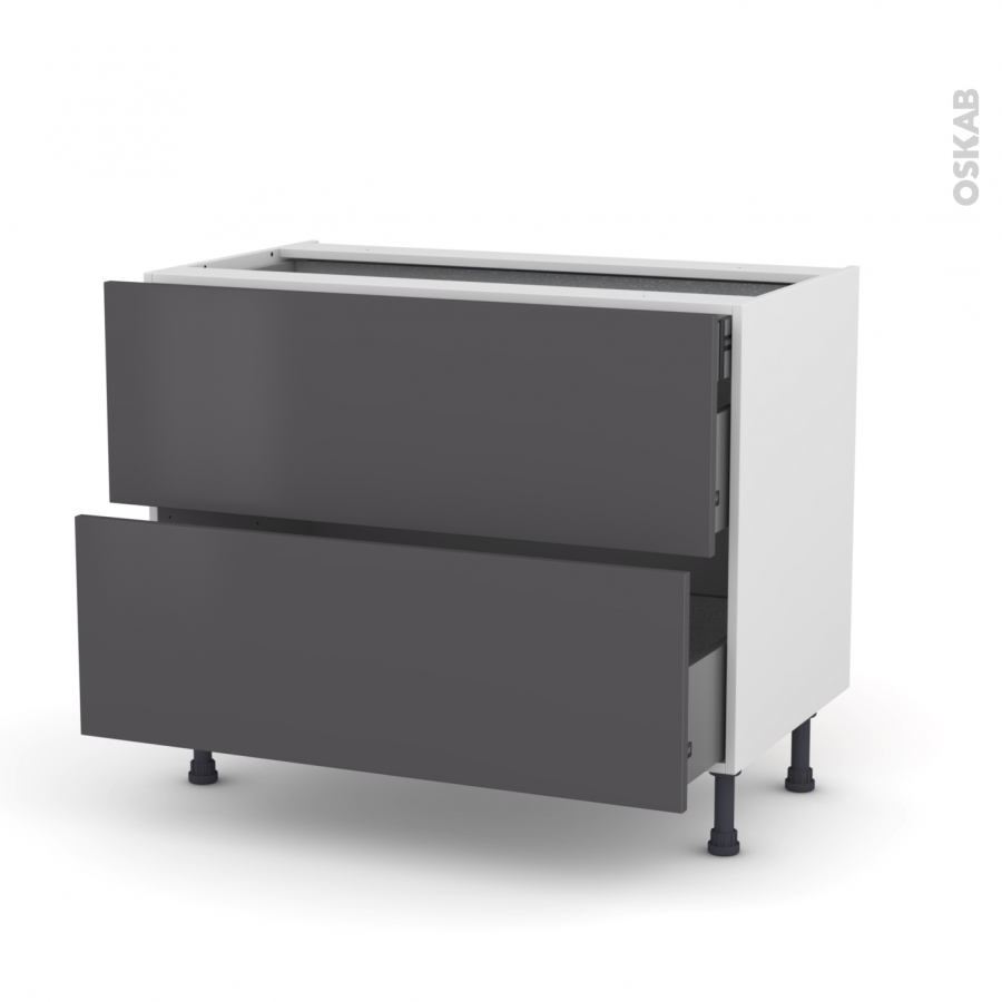 meuble de cuisine casserolier ginko gris 2 tiroirs 1. Black Bedroom Furniture Sets. Home Design Ideas